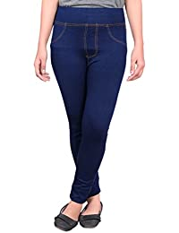 Devil Women's Cotton Lycra Soft Comfortable Jeggings with Denim Lining (Blue, Free Size)