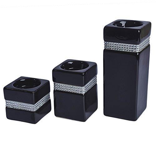 Livivo® Set di 3portacandele in ceramica con cristalli, decorazione per tavoli e caminetti
