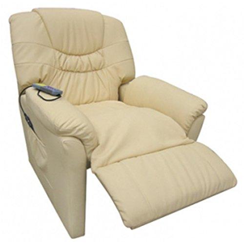 vida XL Massagesessel Fernsehsessel Relaxsessel Massage+Heizung TV Sessel CREME - 4