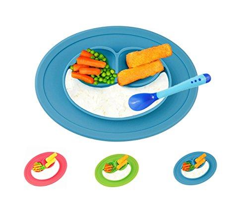 raymoon-set-plato-cuchara-silicona-para-bebe-cara-sonrisa-antideslizante-alimentacion-segura-azul