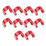 10 x Aluminium C-Clip Fahrrad Zugbefestigung Klammer Bremsleitungsbefestigung Rahmen - Rot, 3 cm x 2 cm