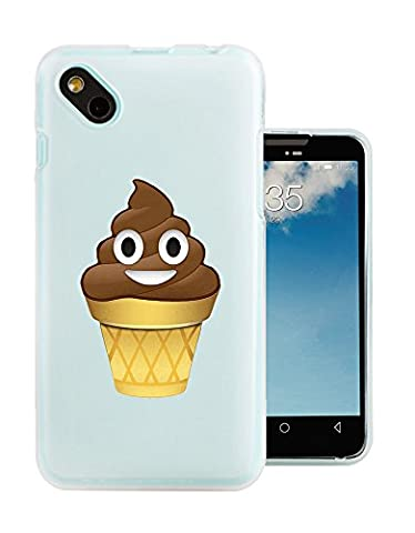 C0863 - Cool Funny Smiley Emoji Poo Shit Chocolate Ice Cream Cone Summer Design Wiko Sunny / Wiko B-Kool Fashion Trend Protecteur Coque Gel Rubber Silicone protection Case
