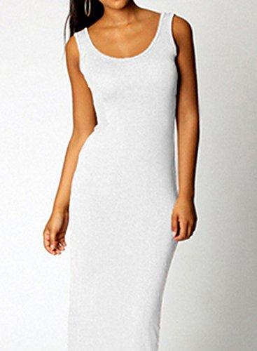 ACHICGIRL Women's Sleeveless Solid Slim Fit Maxi Tank Dress Burgundy