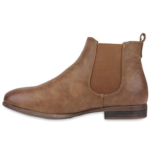 Stiefelparadies Damen Chelsea Boots Klassische Stiefeletten Glitzer Leder-Optik Schuhe Profilsohle Booties Knöchelhohe Stiefel Übergrößen Flandell Khaki