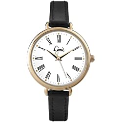 Limit Women's Quartz Watch with White Dial Analogue Display and Black PU Strap 6962.35