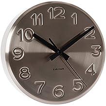 Karlsson - Orologio da parete in acciaio, con le ore incise sul quadrante