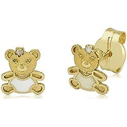 Niños Ohrringe Pendientes Oro de 375oro amarillo 9quilates oro blanco niños pendientes oso. Osos oso grizzly Girl Niños joyas
