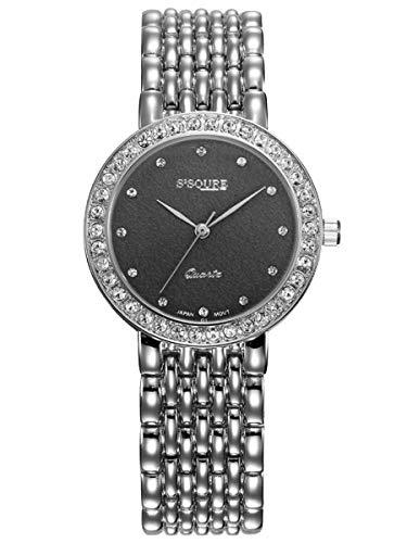 Alienwork Damen-Armbanduhr Quarz Silber mit Edelstahl Metallarmband schwarz Strass-Steinen Ultra-flach Slim-Uhr