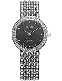 3fb89d310ab3 Alienwork Reloj Mujer Relojes Acero Inoxidable Plata Analógicos Cuarzo  Negro Impermeable Strass Ultra-Delgada Slim