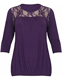 New Womens Floral Lace Neckline 3/4 Short Sleeve Ladies Ruched Gathered Stretch T-Shirt Trim Top Plus Size