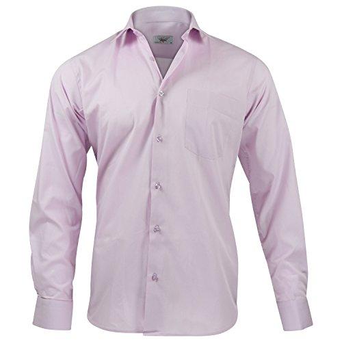 Captain Classic Fit Herren Hemden (in 24 Verschiedenen Farben) Langarm-Hemd 100% Baumwolle Flamingo