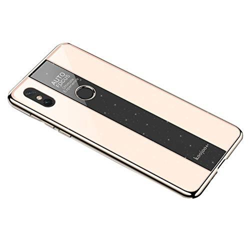 Caja del teléfono de Lujo Cubierta de teléfono de acrílico endurecido galvanizado galvanizado Refuerzo Suave Anti-caída para Xiaomi Mi Mix 2S (Dorado)