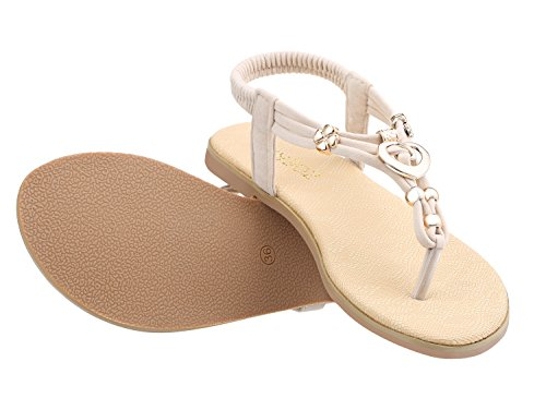 ZOEREA Damen Sandalen Schuhe Knöchelriemen Roman Geflochtene T-Strap Gladiator Sandalen Flats Thong Sandalen Sommer Schuhe Strand Flip Flop Hausschuhe - 3