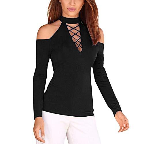 MRULIC Damen Beiläufig Sweatshirt Pullover Langarm Einfarbig Strapless Slim Bluse Shirt Bauchfrei Trägerlose V-Ausschnitt Stickerei Crop Tops(Schwarz,EU-36/CN-M) Baja Womens Sweatshirt