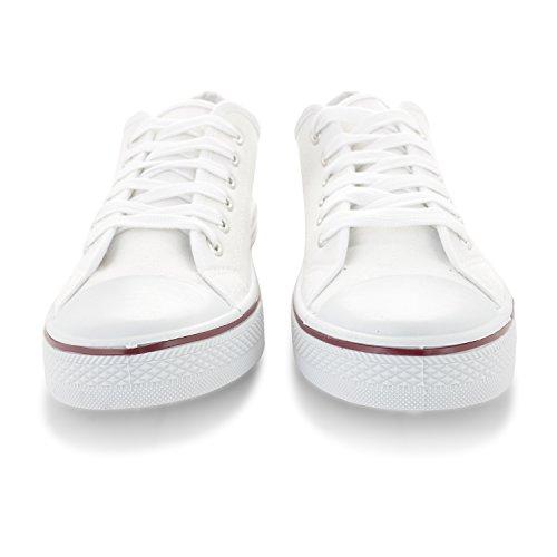 Damen 'Low Top' Fashion Leinwand Sneaker Dunkelblau / Schwarz / Rot / Türkis / Rosa / Weiß Weiß