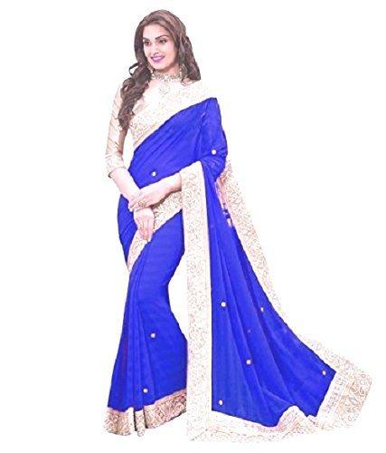 DIYA Fashion Sarees Georgette Saree With Blouse Piece(Blue Patta With Hand Work)