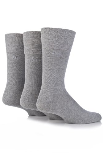 Mens 3 Pair Pringle Dunvegan Gentle Grip Plain Cotton Socks Grey