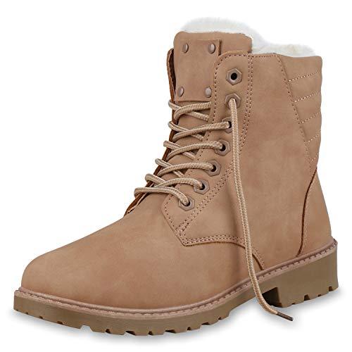 SCARPE VITA Damen Stiefeletten Worker Boots Warm Gefütterte Winter Schuhe 172374 Rosa - Rosa Damen Kostüm Schuhe