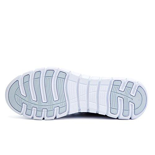 Moda Scarpe da ginnastica traspirante Flyknit Intrecciata Scarpe da corsa leggero Atletico per Uomo Donne All'aperto Bianco