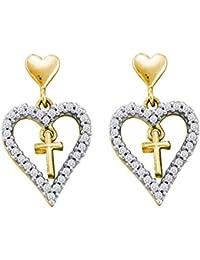 c2c3bb8e456f Pendientes colgantes de oro amarillo de 14 quilates con forma de cruz de  diamante redondo para