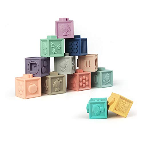 Squeeze Stack Block Set Baby Soft Blocks Spielzeug für Kleinkinder BPA Free Baby Bath Play with Numbers Shapes, Animals, 12 Stück