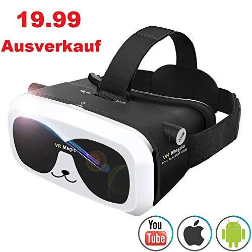 3D VR Brille Virtual Reality Headset für 3D Filme Spiele Einstellbare Brennweite Kompatibel mit iOS Android Anderen Handys innerhalb von 4.0-6.0 Zoll Ultraleichtes Gewicht Virtuelle Realität Brille