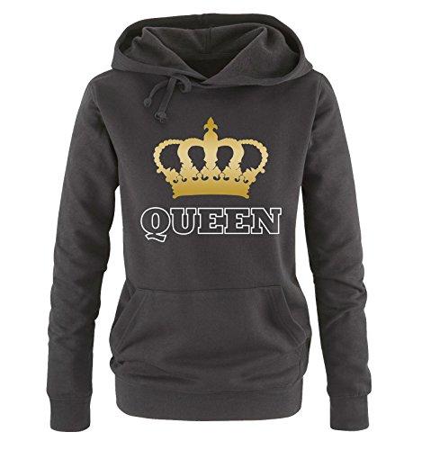 *Comedy Shirts – QUEEN – KRONE II – Damen Hoodie – Schwarz / Weiss-Gold Gr. XL*