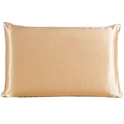 Emmet 100% 22 Momme Maulbeer Seide Kissenbezüge mit Seide Unterseite und verstecktem Reißverschluss beide Seiten von hochwertigem natürlichen Seide (50cm x 75cm, Champagner) (Natürliche Reißverschluss)