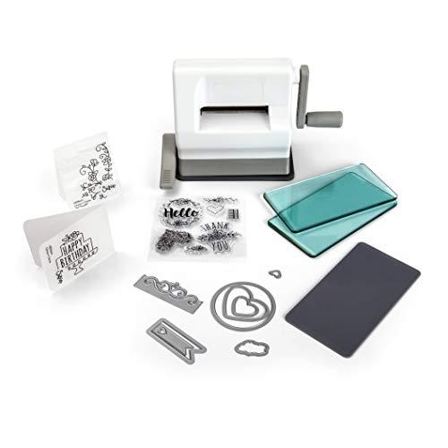 Máquina troqueladora Sizzix Sidekick Starter Kit Una máquina troqueladora portátil, económica, y con un moderno sistema diseñado para troqueles al detalle (con plástico en la parte trasera, o muy finos), y para repujados hasta 12.38 cm x 6.35 cm apro...