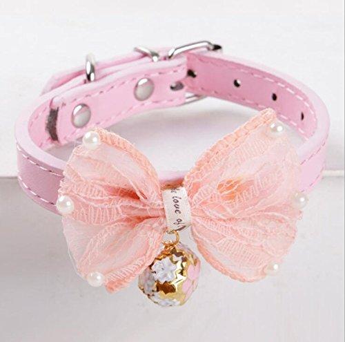 Haustiergeschirr Fliege Halsband aus Spitze mit Glocke Leder Katze Halsband für Haustier (Rosa S) Katzenleine (Mit Halsband Katze Glocke Personalisierte)
