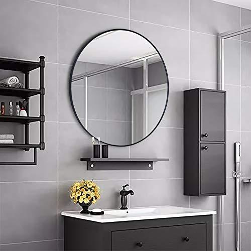 Espejo de pared Simmer Stone con marco de metal, diseño moderno, para salón o baño, 65 cm de diámetro, color negro