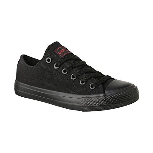 Elara Unisex Sneaker | Bequeme Sportschuhe für Damen und Herren | Low Top Turnschuh Textil Schuhe 36-46 01-A-Black-44