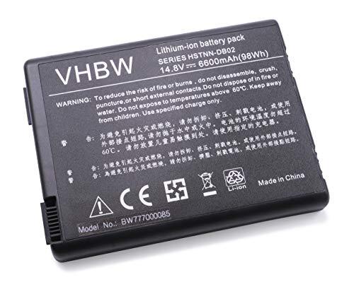 vhbw Batterie LI-ION 6600mAh 14.8V Noir Compatible pour COMPAQ Presario remplace 346970-001, 350836-001, 371914-001, 378858-001, 378859-001, DP399A