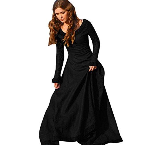 Kleid damen Kolylong® Frauen Elegant Spitze Kleid Lange Herbst Winter Vintege Langarm Kleid Cocktail Party Kleid Abendkleid Cosplay Kostüm (XXXL, (Schwarzen Frauen Mit Für Bodysuit Kostüme)
