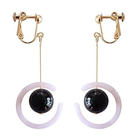 Ohrclips Clip on Ohrringe Ohr für non Pierced Baumeln Bead Moon Vergoldet für Damen Schwarz (Bead Tropfen Baumeln Ohrringe)