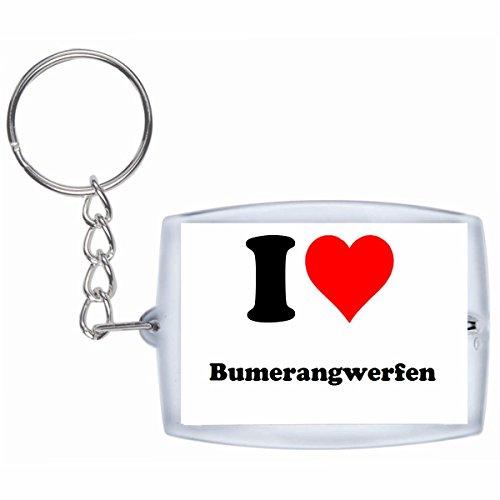 """Exklusive Geschenkidee: Schlüsselanhänger """"I Love Bumerangwerfen"""" in Weiss, eine tolle Geschenkidee die von Herzen kommt - Rucksackanhänger- Weihnachts Geschenktipp"""