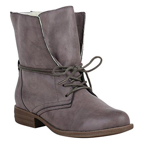 Stiefelparadies Damen Stiefeletten Warm Gefütterte Stiefel Schnürstiefeletten 151514 Grau Arriate 36 Flandell