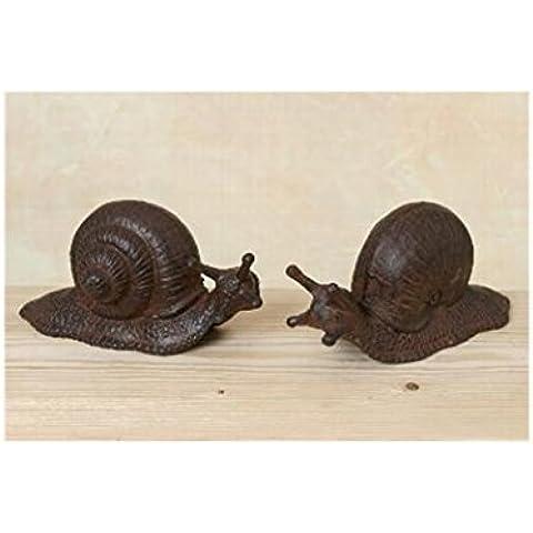 Juego de dos adornos de hierro fundido de caracol para el jardín