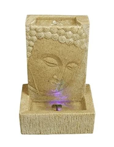 Brunnen Buddha Zimmerbrunnen mit LED Wohnung Entspannung Dekoration Sandstein Optik