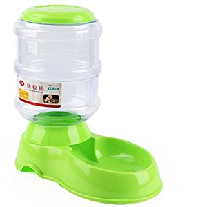 POPETPOP 3.5L Distributeur Croquettes Chat, Distributeur de Nourriture Et D'eau, Distributeur de Nourriture Et Gamelle pour Chien, Chat et Animaux Domestiques (Vert)