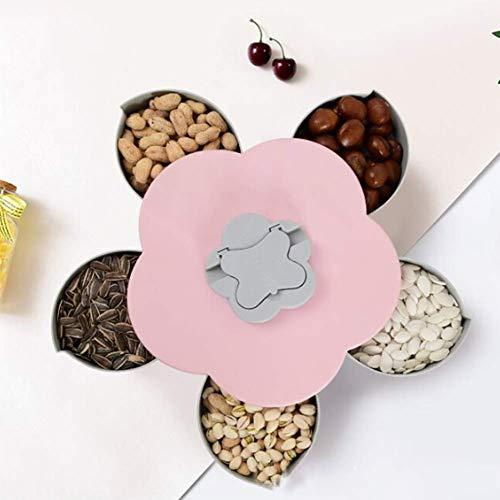 Merry Angel Rotativo Creativo Bocaditos Plato de Frutas Dispensador de Dulces Cuenco de plástico Flores del hogar Forma Bandeja de Frutos Secos (Rosa)