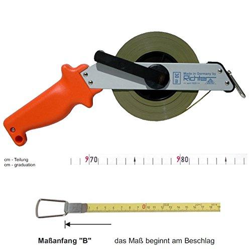 Richter Stahlbandmaß Bandmaß 13mm breit mit Leichtmetallrahmen - Länge: 30m - Maßanfang