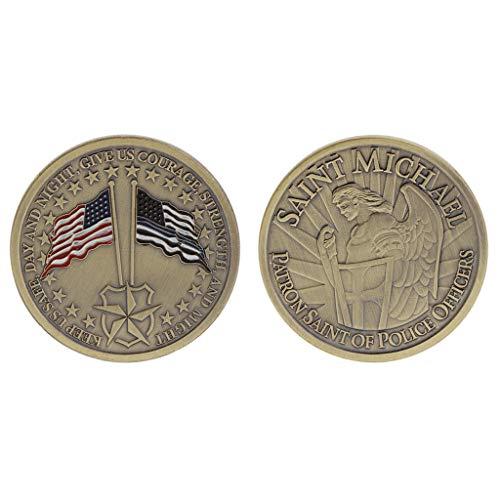zijianZZJ Gedenkmünze seltene Gedenkmünze Patron der Polizeibeamten St. Michael Amerika Flagge Souvenir Bronze -