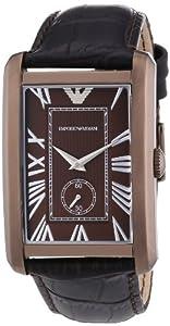 Emporio Armani AR1606 - Reloj analógico de cuarzo para hombre con correa de piel, color marrón de ARMANI