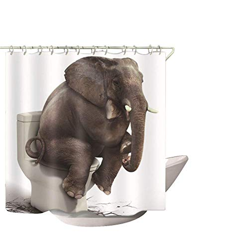 Animal Duschvorhang fahren Hunde Lovely Pet Art Print Decor Wasserdicht Anti Schimmel Stoff Polyester Bad Vorhang Sets mit frei Haken 182,9 x 182,9 cm (ylb02) Thinking Elephant-m (Duschvorhang Animal-print)
