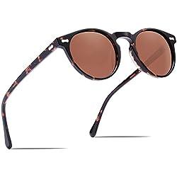 Carfia Gafas de Sol Polarizadas mujer hombre Retro Estilo gafas UV400 gafas de sol para conducir viajes playa (Marco de tortuga con lente marrón)
