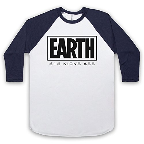 Inspiriert durch Marvel Comics Earth 616 Kicks Ass Inoffiziell 3/4 Hulse Retro Baseball T-Shirt Weis & Ultramarinblau
