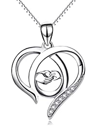 Gifts for Mum, Sterling Silver Love Heart Pendant Necklace Jewellery for Women
