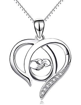Perfekten Geschenk für Mama, Sterling Silber Mutter und Kind Hände Herz Anhänger Halskette, 45,7 cm