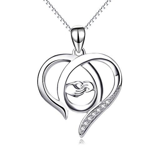 Perfekten Geschenk für Mama, Sterling Silber Mutter und Kind Hände Herz Anhänger Halskette, 45,7 cm (Geschenke Für Mama Zum Geburtstag)